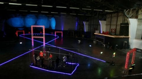 Neon Lights and California's Fastest Pilots Take Over the Former SF Exploratorium for a Memorable Drone 'Drag Racing' Experience