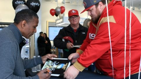 Former 49er football player Keena Turner met with fans at the new Xfinity Store in Brokaw Plaza in San Jose