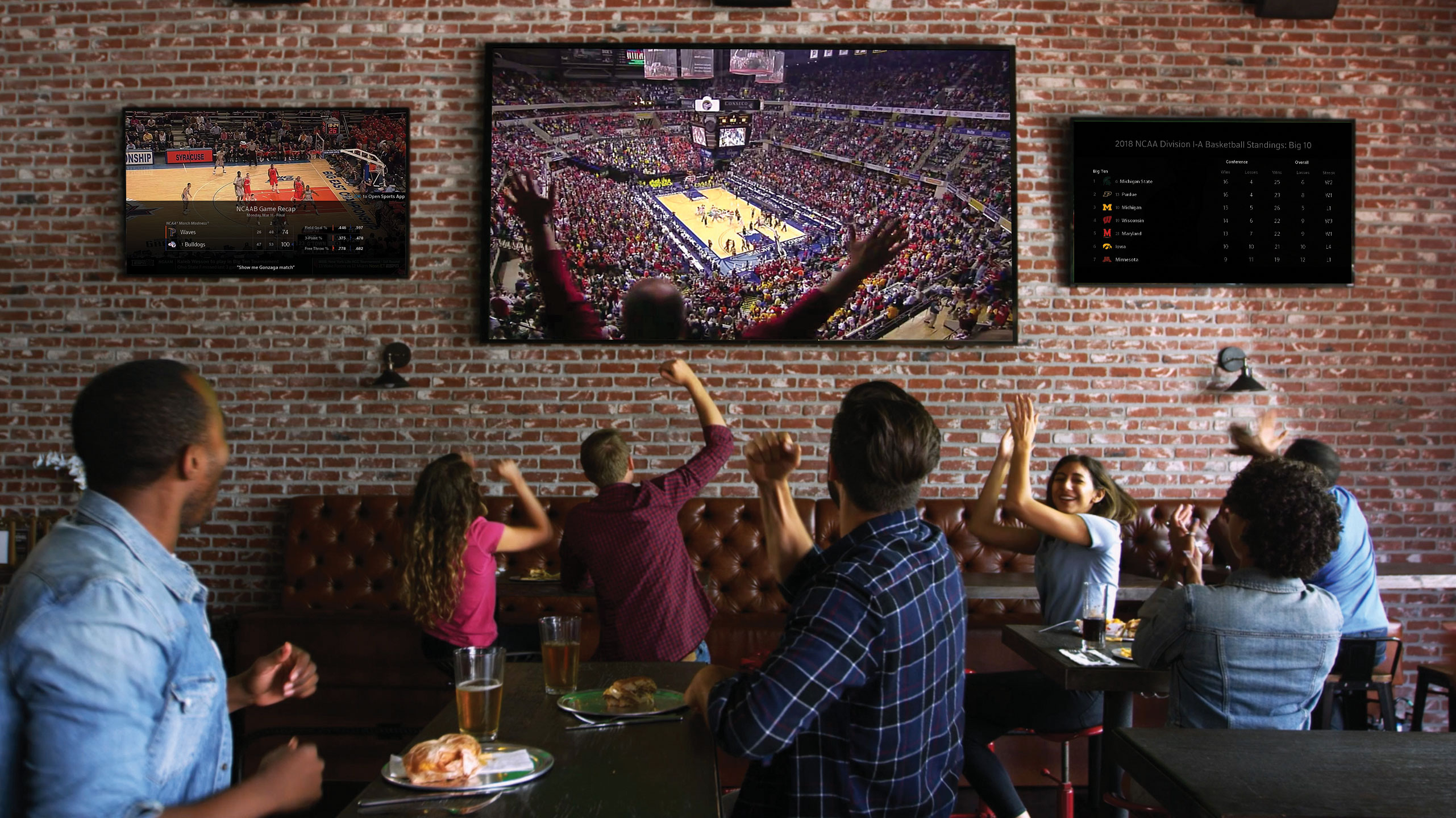 watching sports at a restaurant